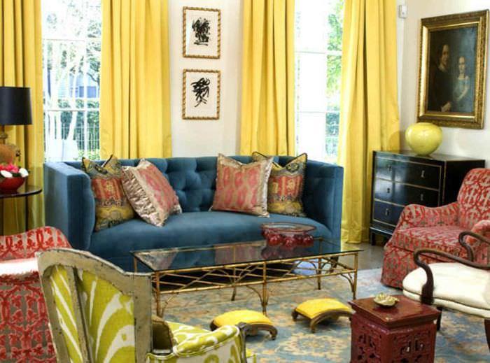 идея применения необычного желтого цвета в дизайне комнаты