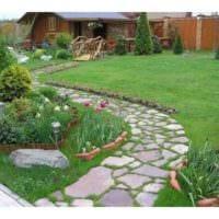 пример применения ярких садовых дорожек в дизайне двора фото
