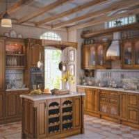 пример светлого интерьера кухни в деревенском стиле картинка