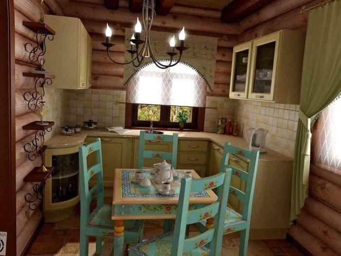 вариант светлого стиля кухни в деревянном доме