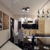 идея красивого интерьера кухни в загородном доме фото