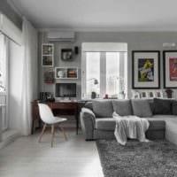 идея светлого интерьера студии 20 кв.м фото
