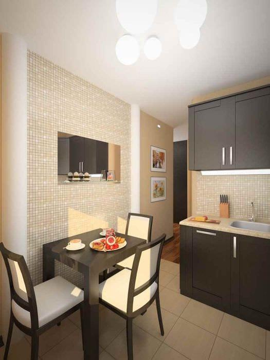 пример светлого дизайна кухни 7 кв.м