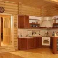 идея светлого декора кухни в деревянном доме картинка
