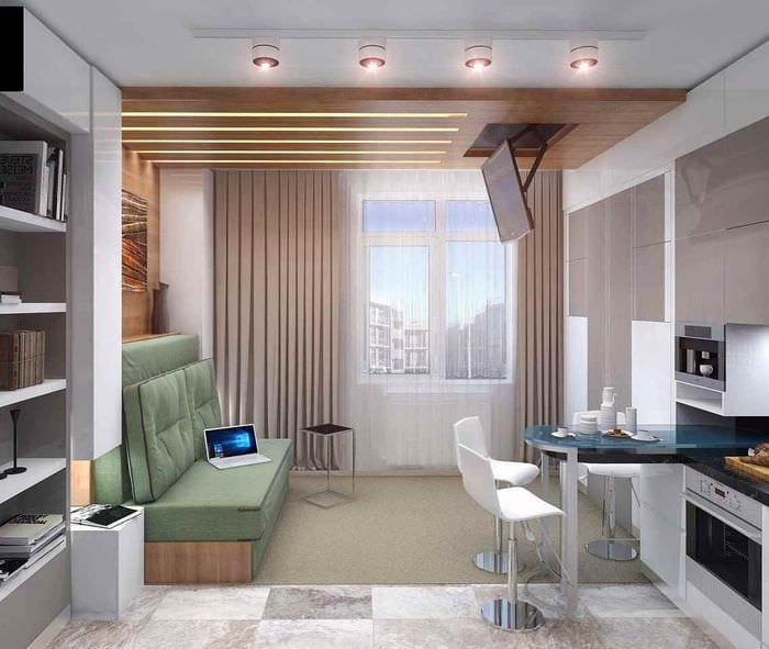 идея светлого дизайна квартиры студии 26 квадратных метров