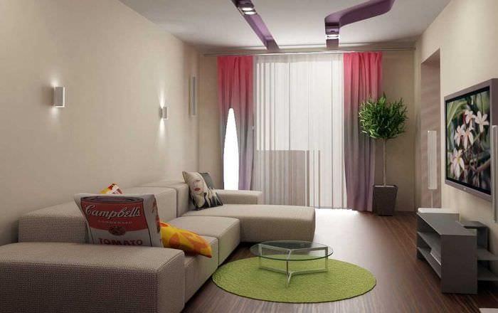 идея необычного декора гостиной спальни
