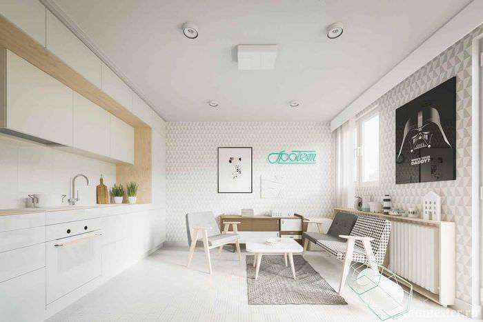 пример светлого дизайна студии 20 кв.м.