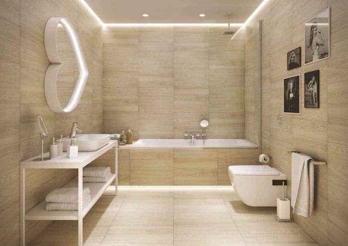 идея яркого стиля укладки плитки в ванной комнате