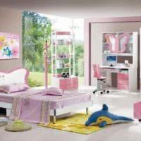 пример красивого декора детской комнаты для девочки фото