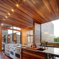 пример необычного интерьера кухни в деревянном доме картинка