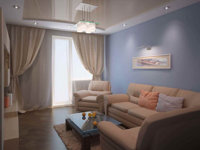 вариант яркого дизайна гостиной 15 кв.м