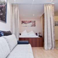 пример светлого стиля гостиной спальни фото