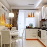 идея яркого декора кухни 11 кв.м фото