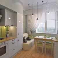 пример светлого декора кухни 13 кв.м фото