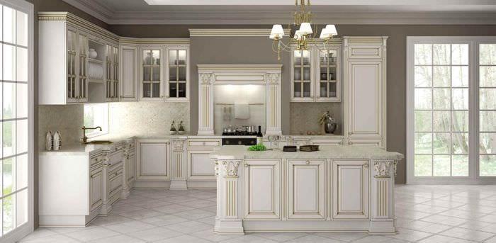 вариант необычного дизайна кухни в классическом стиле