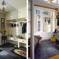 пример яркого интерьера прихожей в частном доме фото