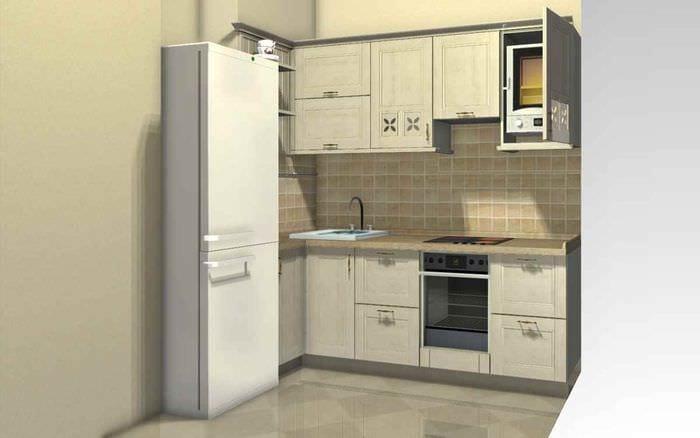 идея светлого интерьера кухни с газовой колонкой