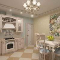 вариант красивого интерьера кухни в деревенском стиле картинка