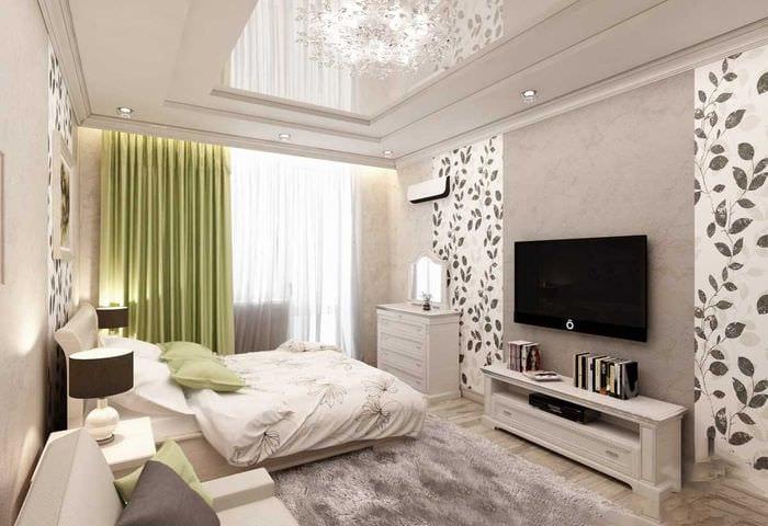 пример красивого стиля гостиной спальни