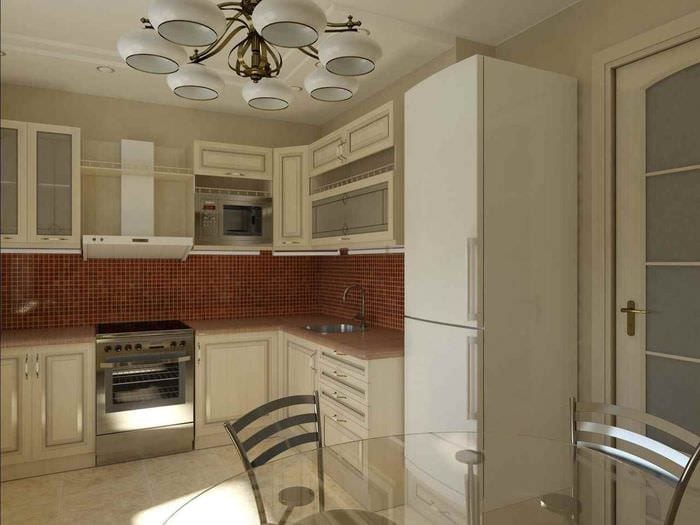идея яркого дизайна кухни 11 кв.м