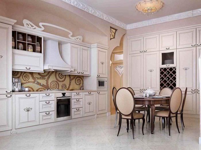 пример светлого стиля кухни в классическом стиле
