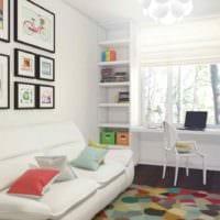 идея светлого дизайна детской комнаты для девочки картинка