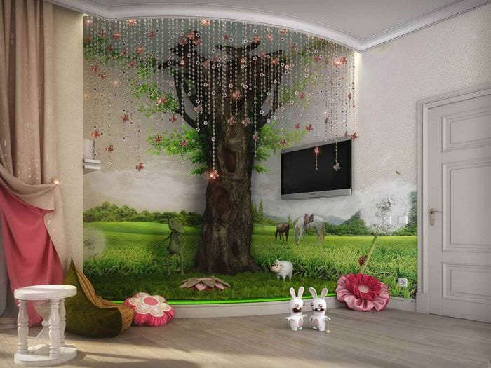 вариант светлого стиля детской комнаты для девочки