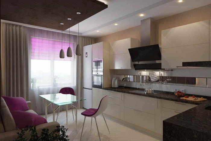 вариант необычного стиля кухни 12 кв.м