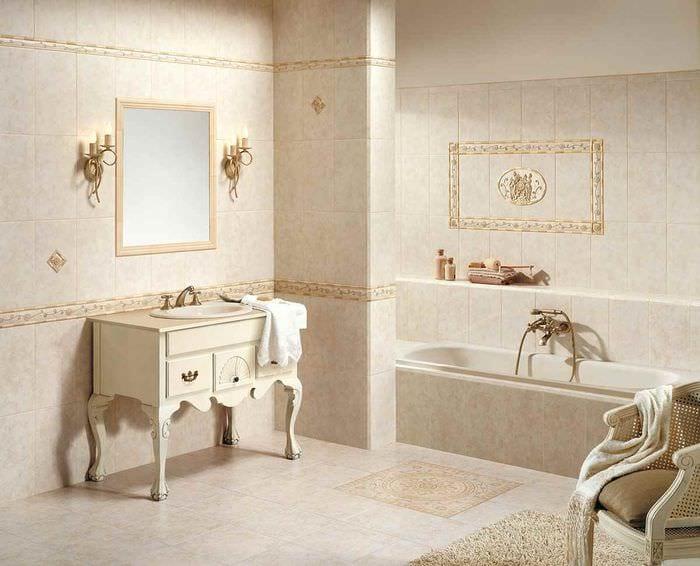 пример светлого дизайна укладки плитки в ванной комнате