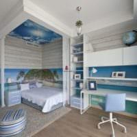 комната для подростка в бело голубом цвете