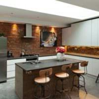 красивый дизайн кухни в стиле лофт