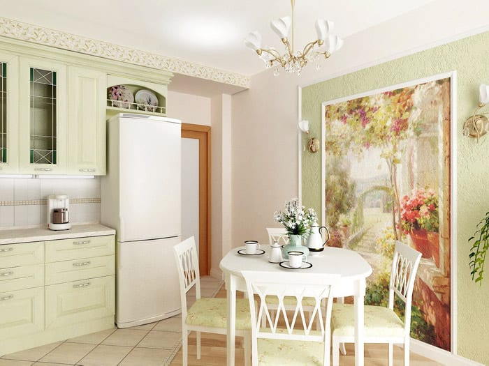 кухня с росписью стен