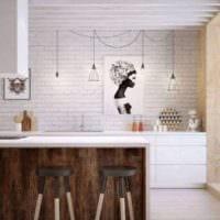 дизайн кухни в стиле лофт с барной стойкой