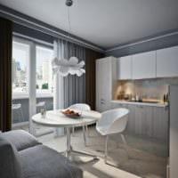 кухня с балконом и диваном