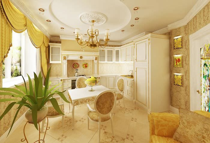 кухня столовая гостиная барокко