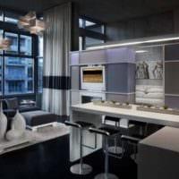 кухня студия интерьер