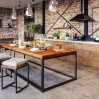кухня в стиле лофт дизайн мебели