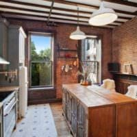 кухня в стиле лофт камин