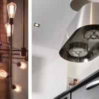 кухня в стиле лофт светильники