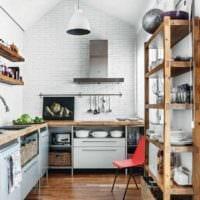 кухня в стиле лофт вытяжка