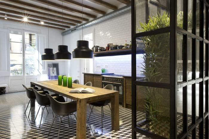 идеи дизайна кухни лофт