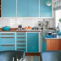 голубые фасады кухни 3 на 3