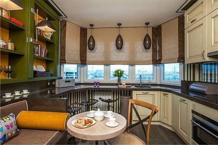 Дизайн кухни п 44т с эркером (42 фото): как сделать своими р.