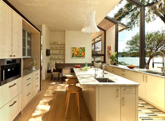 планировка кухни в стиле модерн