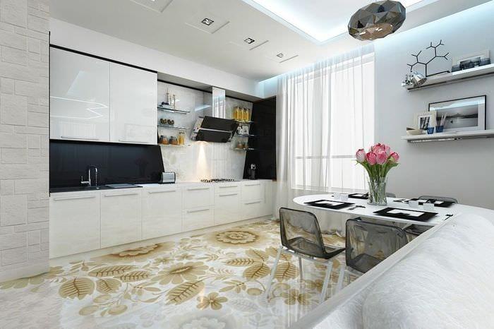 наливной пол на кухне модерн