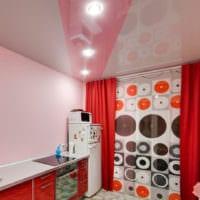 кухня 3 кв. метра с натяжным потолком
