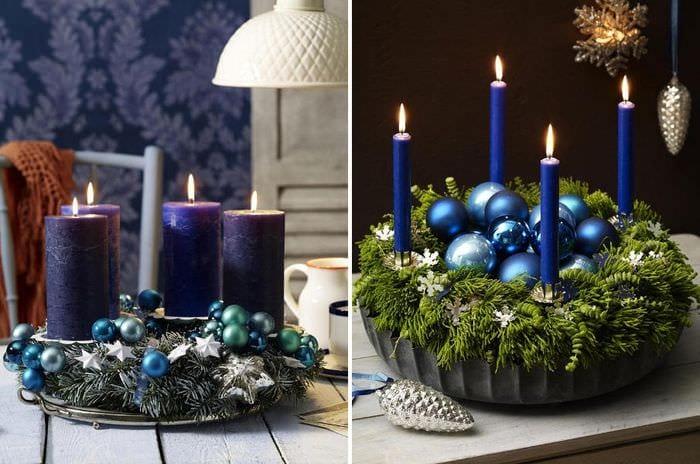 новогодние свечи декор