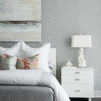 обои серого цвета спальня