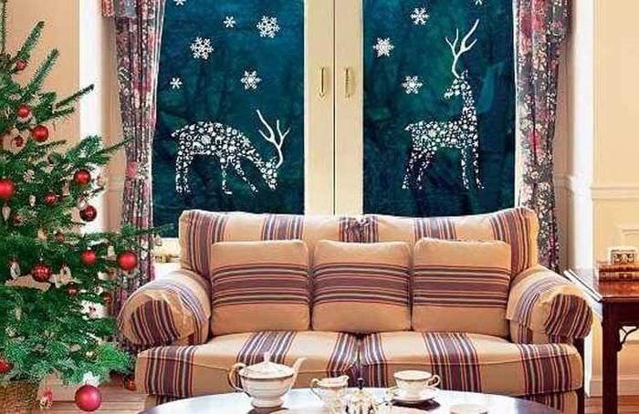декор олени на окна