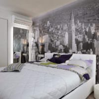 фото спальни с серыми обоями